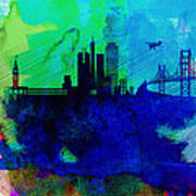 San Francisco Watercolor Skyline 2 Poster by Naxart Studio