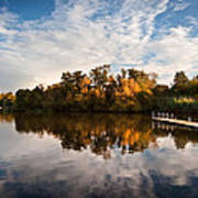Beautiful Sunset Over Autumn Fall Lake With Crystal Clear Reflec Poster by Matthew Gibson