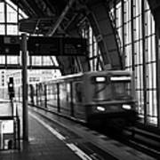Berlin S-bahn Train Speeds Past Platform At Alexanderplatz Main Train Station Germany Poster by Joe Fox