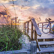 Bicycle At The Beach Poster by Debra and Dave Vanderlaan