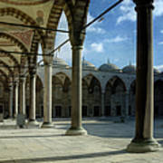 Blue Mosque Courtyard Poster by Joan Carroll