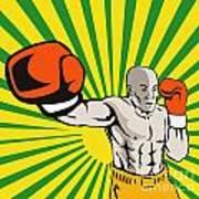 Boxer Boxing Jabbing Front Poster by Aloysius Patrimonio