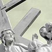Christ On The Cross With Mourners Saint Joseph Cemetery Evansville Indiana 2006 Poster by John Hanou