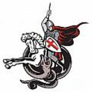 English Knight Fighting Dragon England Flag Shield Retro Poster by Aloysius Patrimonio
