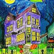 Flight Of The Moon Witch On Hallows Eve Poster by Janet Immordino