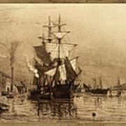 Historic Seaport Schooner Poster by John Stephens