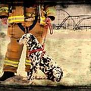 Hurricane Sandy Fireman And Dog Poster by Jessica Cirz