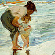 On The Beach Poster by Joaquin Sorolla y Bastida
