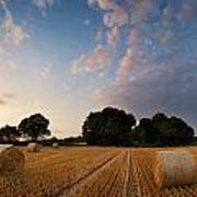 Stunning Summer Landscape Of Hay Bales In Field At Sunset Poster by Matthew Gibson