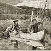 Trapping In The Adirondacks Poster by Winslow Homer