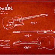 Vintage Fender Guitar Patent Drawing From 1951 Poster by Aged Pixel