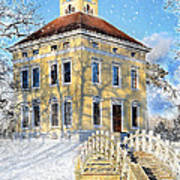 Winter Landscape With A Bridge Over The River And Interesting Home Poster by Gynt