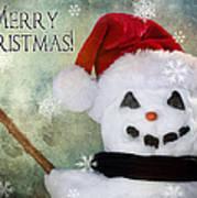 Winter Snowman Poster by Cindy Singleton