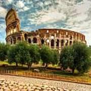 The Majestic Coliseum - Rome Poster by Luciano Mortula