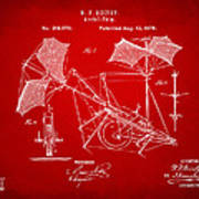 1879 Quinby Aerial Ship Patent - Red Poster by Nikki Marie Smith