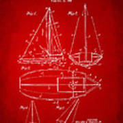 1948 Sailboat Patent Artwork - Red Poster by Nikki Marie Smith