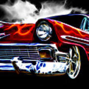 1956 Flamin Chevrolet Poster by Phil 'motography' Clark