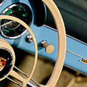 1958 Porsche 356 A Speedster Steering Wheel Emblem Poster by Jill Reger