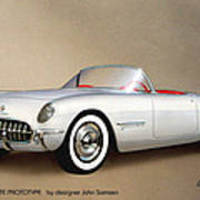 1953 Corvette Classic Vintage Sports Car Automotive Art Poster by John Samsen