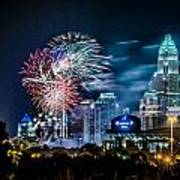 4th Of July Firework Over Charlotte Skyline Poster by Alexandr Grichenko