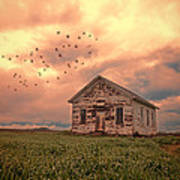 Abandoned Building In A Storm Poster by Jill Battaglia