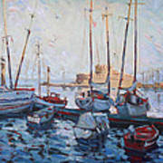 Boats In Rhodes Greece  Poster by Ylli Haruni