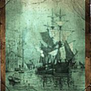 Grungy Historic Seaport Schooner Poster by John Stephens