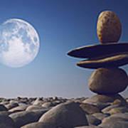 Stacked Stones In Sunlight Witt Moon Poster by Aleksey Tugolukov