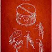 Vintage Snare Drum Patent Drawing From 1889 - Red Poster by Aged Pixel