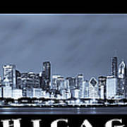 Chicago Skyline At Night Poster by Sebastian Musial
