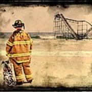 Hurricane Sandy Fireman Poster by Jessica Cirz