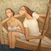 Pair In A Boat  Poster by Nicolay  Reznichenko