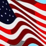 50 Star American Flag Closeup Abstract 7 Poster by L Brown