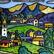 A Folksy Swiss Town Poster by Monica Engeler