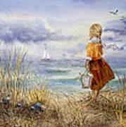 A Girl And The Ocean Poster by Irina Sztukowski