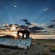 Abandoned Fishing Sunset Digital Painting Poster by Matthew Gibson