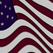 Abstract 50 Star American Flag Flying Enhanced Cropped X 2 Poster by L Brown