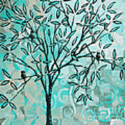 Abstract Floral Birds Landscape Painting Bird Haven II By Megan Duncanson Poster by Megan Duncanson