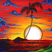 Abstract Surreal Tropical Coastal Art Original Painting Tropical Resonance By Madart Poster by Megan Duncanson