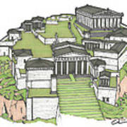 Acropolis Of Athens Restored Poster by Calvin Durham