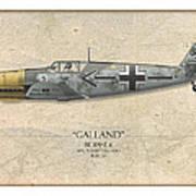 Adolf Galland Messerschmitt Bf-109 - Map Background Poster by Craig Tinder