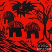 African Huts Red Poster by Caroline Street