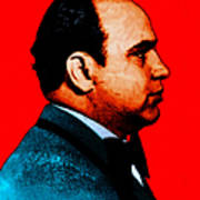 Al Capone C28169 - Red - Painterly - Text Poster by Wingsdomain Art and Photography