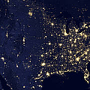 America At Night Poster by Adam Romanowicz