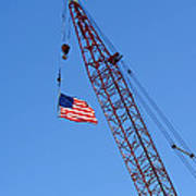 American Flag On Construction Crane Poster by Olivier Le Queinec
