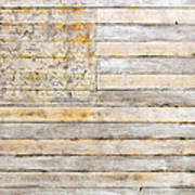 American Flag On Distressed Wood Beams White Yellow Gray And Brown Flag Poster by Design Turnpike