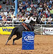 American Rodeo Female Barrel Racer Dark Horse Iv Poster by Sally Rockefeller