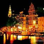 Amsterdam At Night Four Poster by John Malone