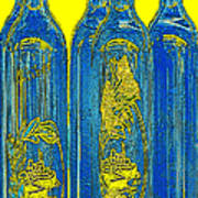 Antibes Blue Bottles Poster by Ben and Raisa Gertsberg