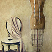 Antique Dress Form And Chair With Vintage Feeling Poster by Sandra Cunningham
